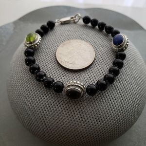 Jewelry - Onyx Bracelet With Multi-Color Gem Stones